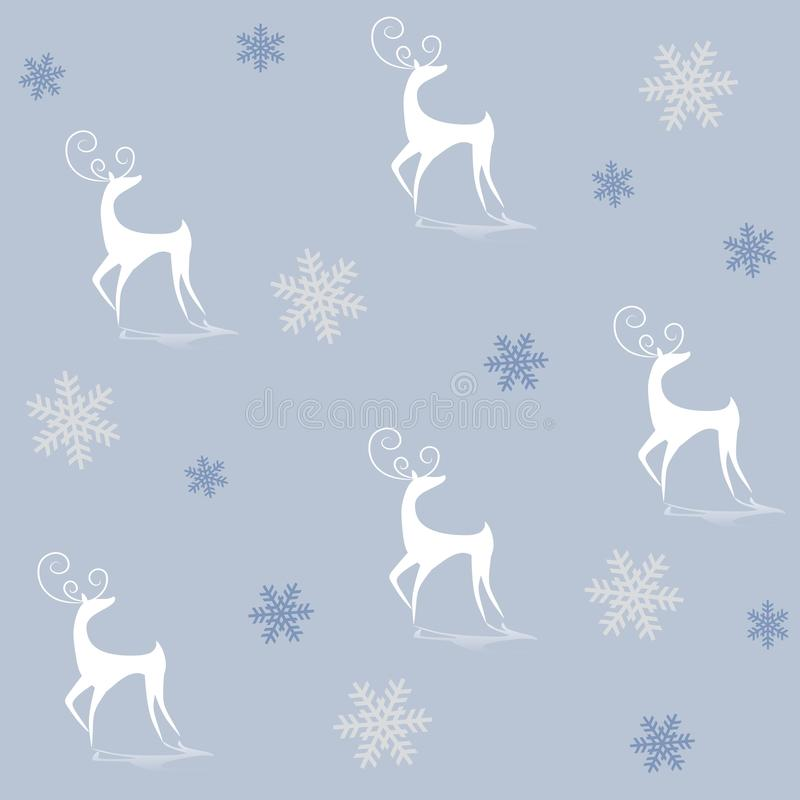 Reindeer Silhouettes on Blue. A background pattern featuring white reindeer silhouettes on a light blue background surrounded by snowflakes vector illustration
