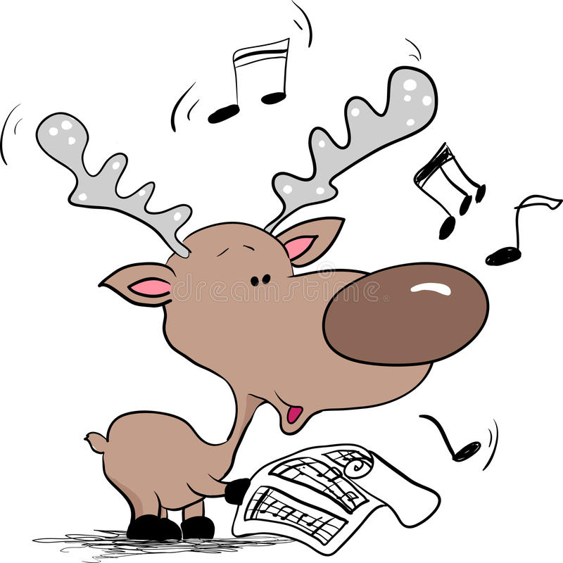 Download Reindeer Singing Christmas Song Stock Vector - Image: 10858369