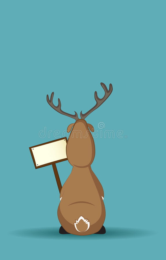 Download Reindeer Sitting Turned Back With A Sign Stock Vector - Image: 24865138