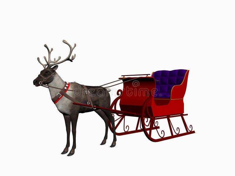 Reindeer with sledge. stock illustration