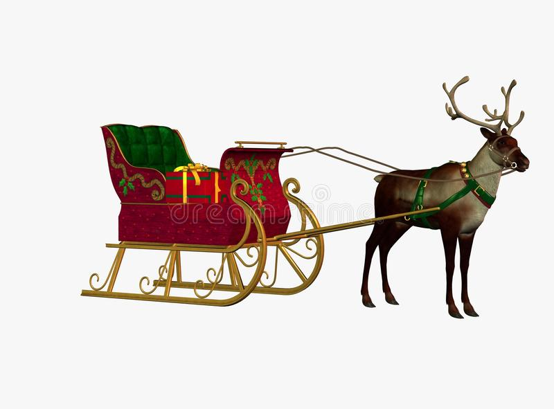 Download Reindeer with sleigh stock illustration. Image of colourful - 14626598