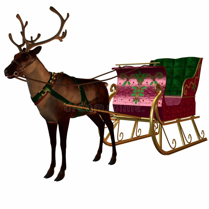 Download Reindeer and Sleigh stock illustration. Image of male - 1539309