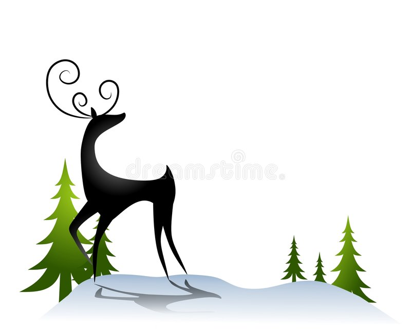 Reindeer in The Snow 2 stock illustration