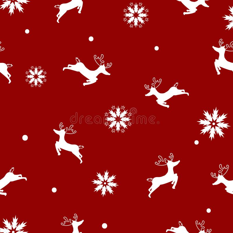 Reindeer with snowflakes, Merry Christmas, seamless pattern elegant, winter holiday, happy new year, texture background wallpaper royalty free illustration