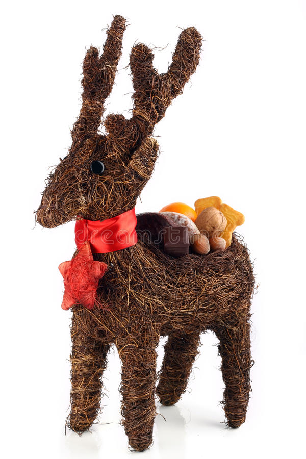 Reindeer with sweets on his back