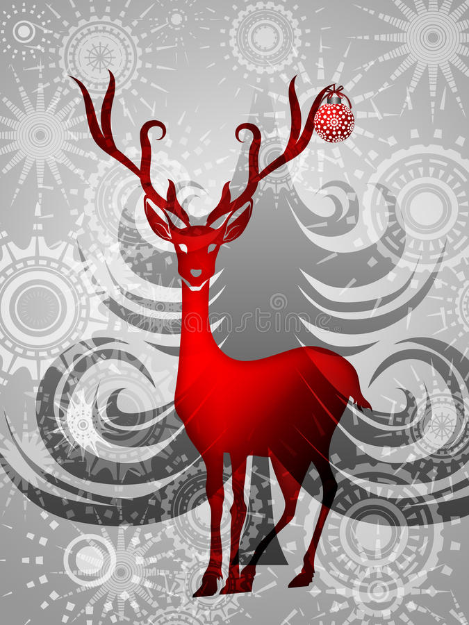 Free Reindeer With Red Ornament On Silver Background Royalty Free Stock Photography - 21948407