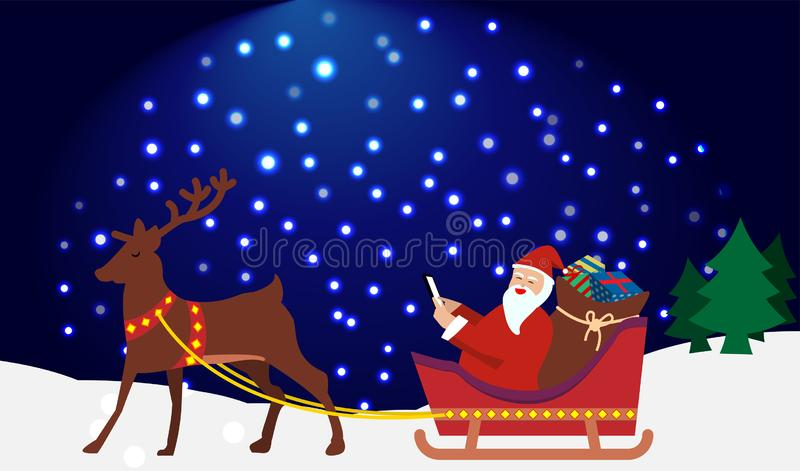Reindeerder trekt Santa claus en cadeaudoosje in sneeuwkart op blauwe en witte begeachtergrond royalty-vrije illustratie