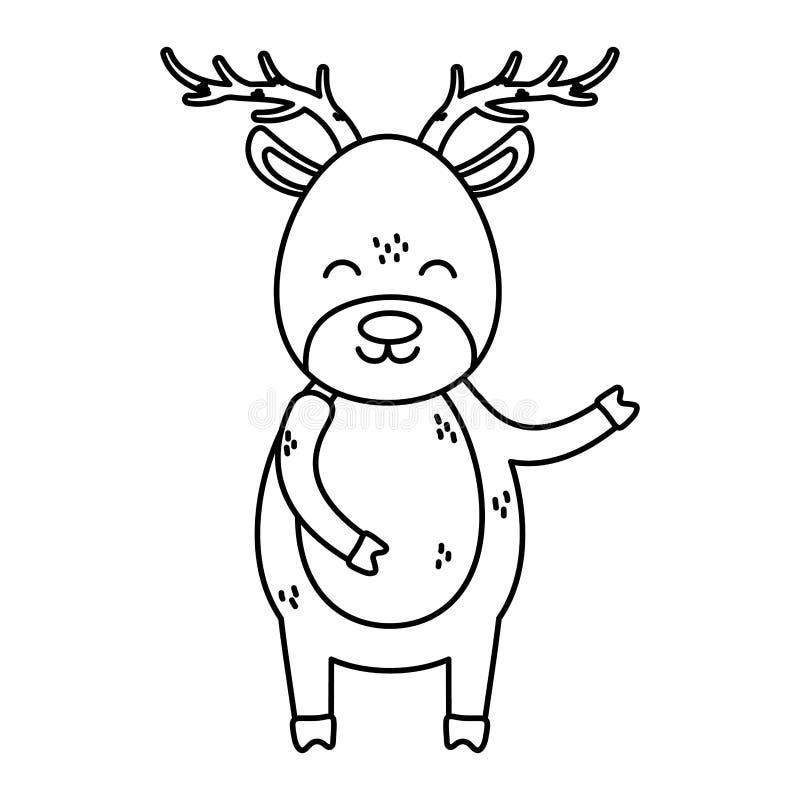 Reindepernas stora horns firande är ett stort julklackstreck vektor illustrationer