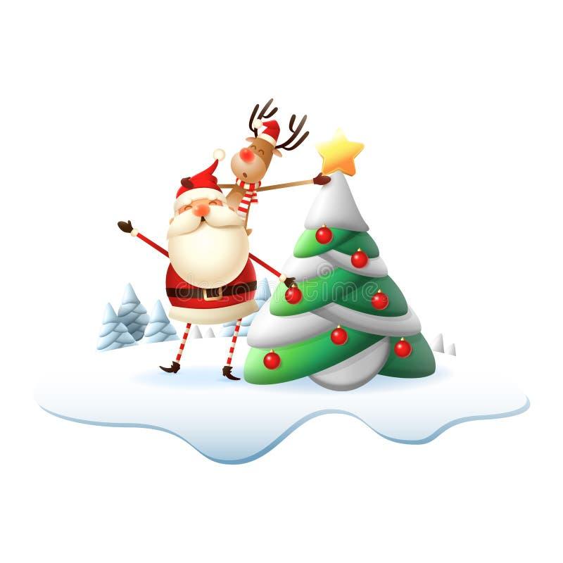 Reinder auf Santa Claus-Rückseite setzte den Stern auf Weihnachtsbaum Illustration lokalisiert auf transparentem Hintergrund vektor abbildung