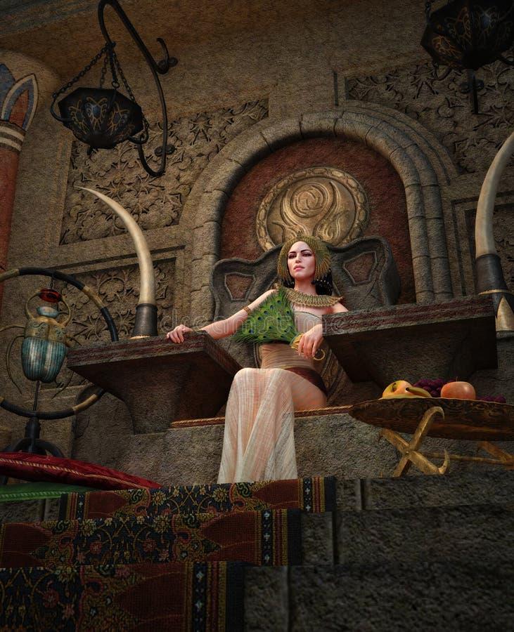 Reine égyptienne antique dans la salle de trône, 3d CG. illustration de vecteur