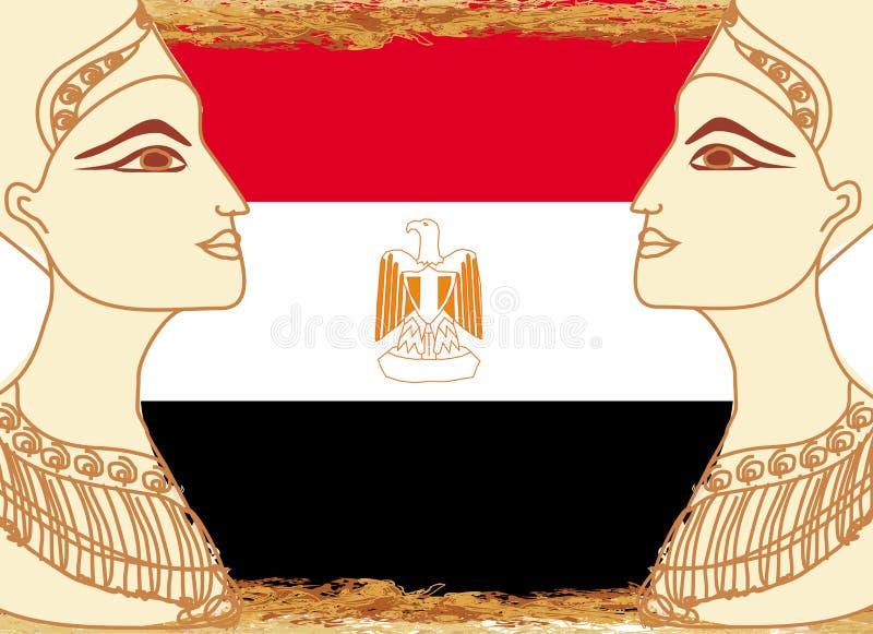 Reine égyptienne Cléopâtre sur le fond du drapeau de l'Egypte illustration libre de droits
