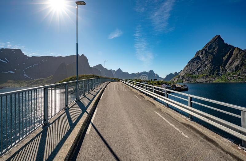 Lofoten is an archipelago in the county of Nordland, Norway. Reine bridge Lofoten is an archipelago in the county of Nordland, Norway. Is known for a distinctive royalty free stock image