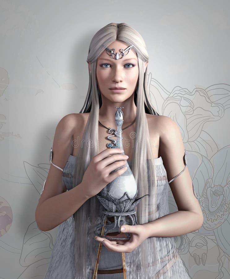 Reine d'elfes avec l'élixir illustration de vecteur