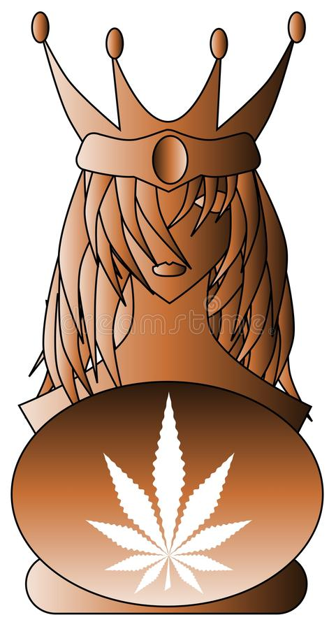Reine d'or stylisée avec la feuille de marijuana illustration stock