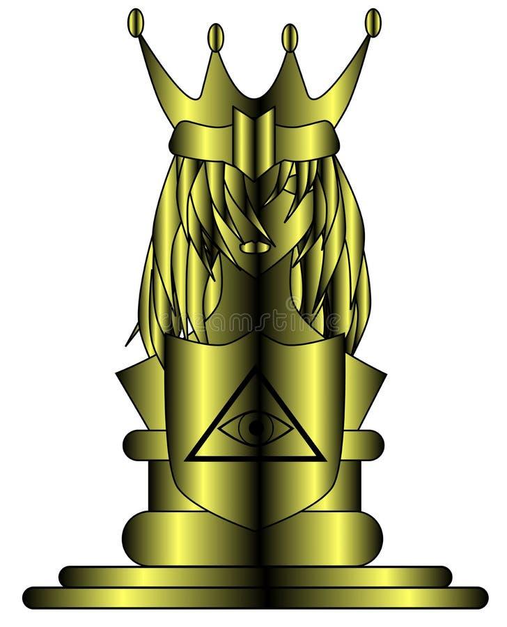 Reine d'or stylisée avec tout l'oeil voyant illustration libre de droits