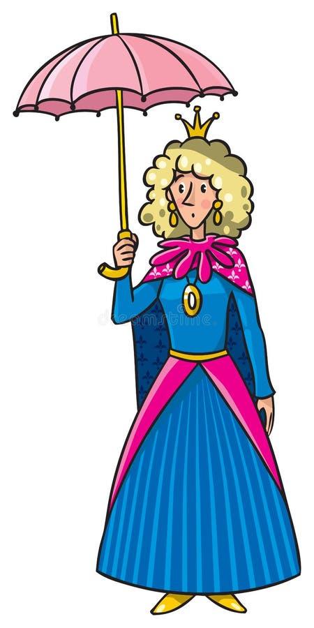 Reine dans la couronne avec le parapluie illustration libre de droits