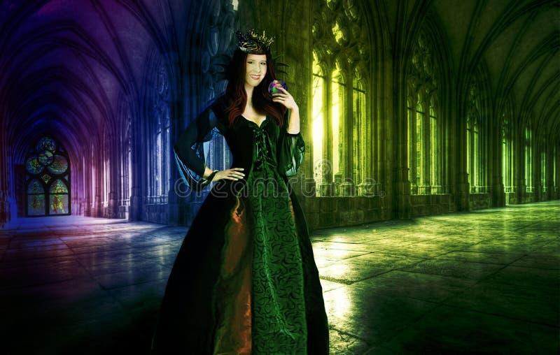 Reine dans un château médiéval avec un cristal magique illustration stock