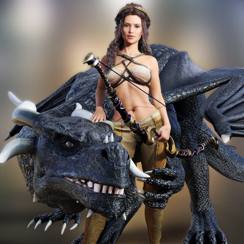 Reine de chasseur et son dragon illustration libre de droits