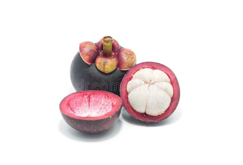Reine de mangoustan de mangostana Linn de Garcinia de fruits sur b blanc photo stock