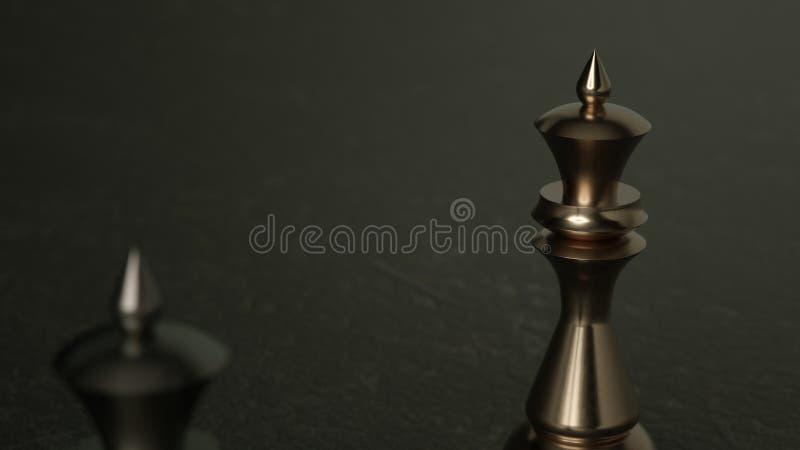 reine des échecs 3D sur le fond foncé rendu 3d Éclairage cinématographique images libres de droits