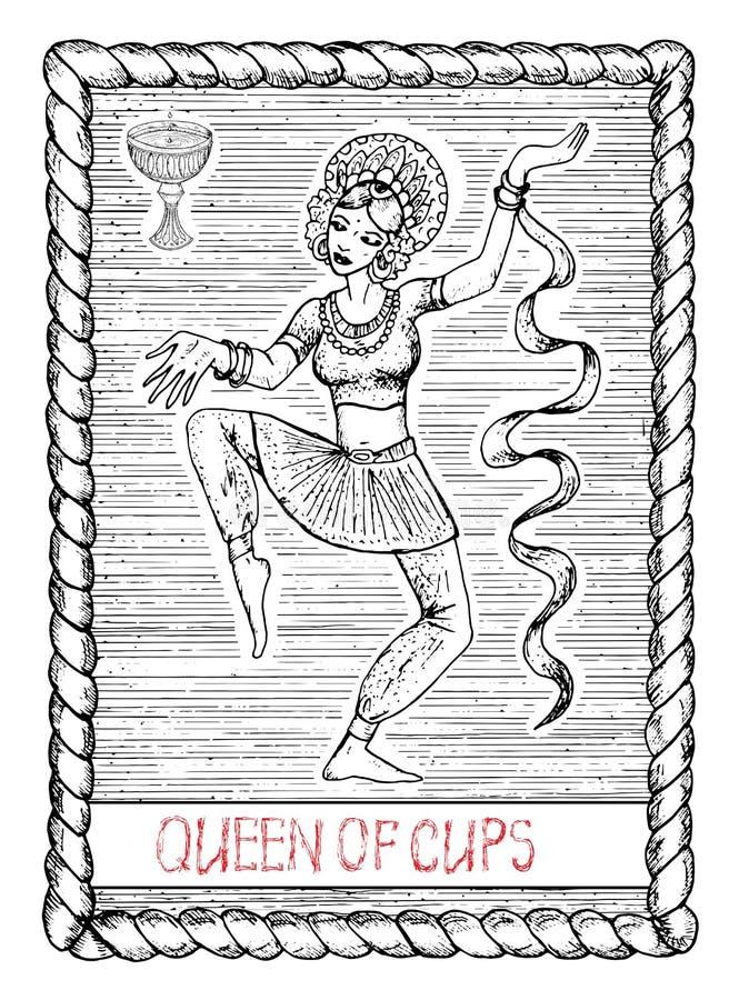 Reine des tasses La carte de tarot illustration de vecteur