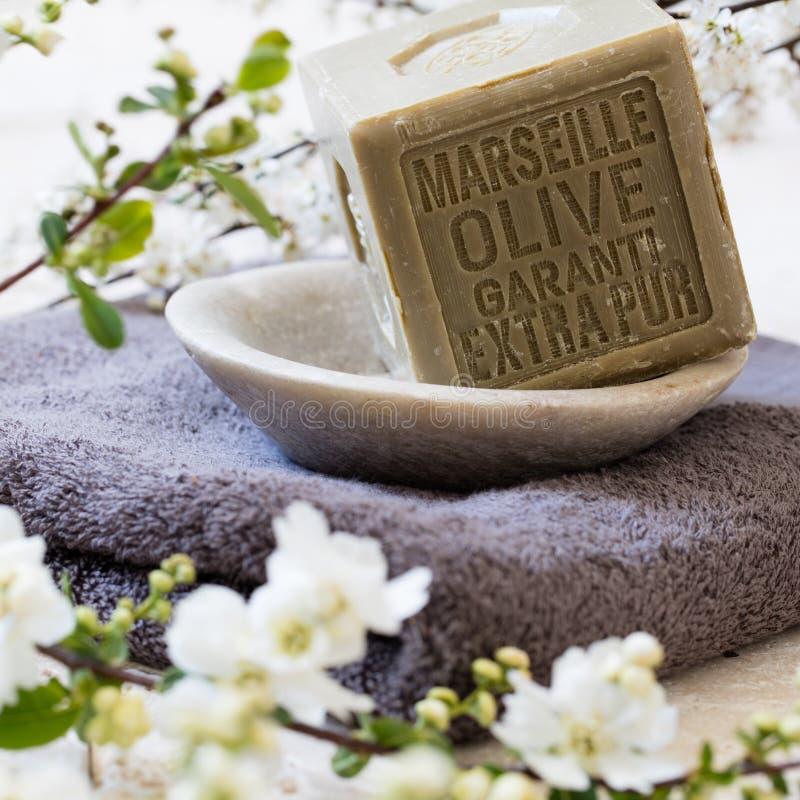 Reine grüne französische feste Seife des Olivenöls in der Mineralschale stockbild