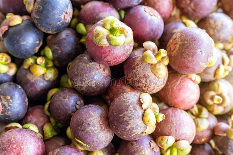Reine haute étroite du fond de mangoustan de groupe de fruits, mangoustan dans un plateau Avec l'effet de la lumi?re du soleil image stock