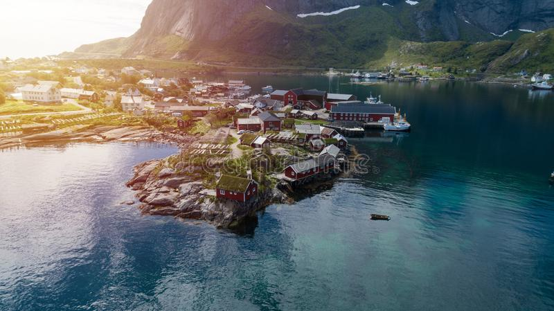 Reine in Lofoten Islands, Norway, with traditional red rorbu huts.  royalty free stock images