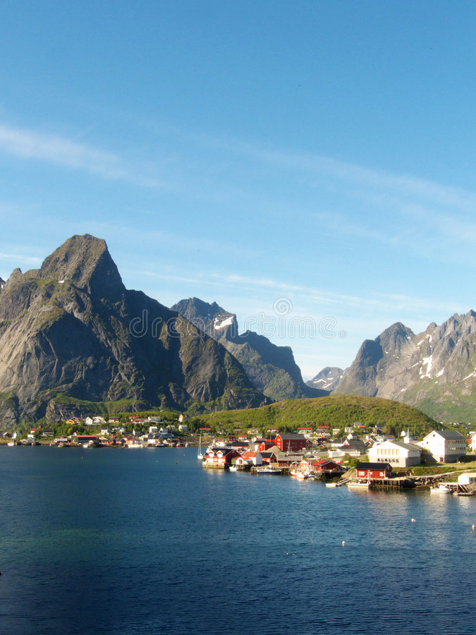Reine in Lofoten's landscape. Reine the village of Lofoten elected by Times Magazine most beautiful in the world stock photography