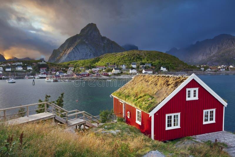 Reine, Noorwegen stock foto's