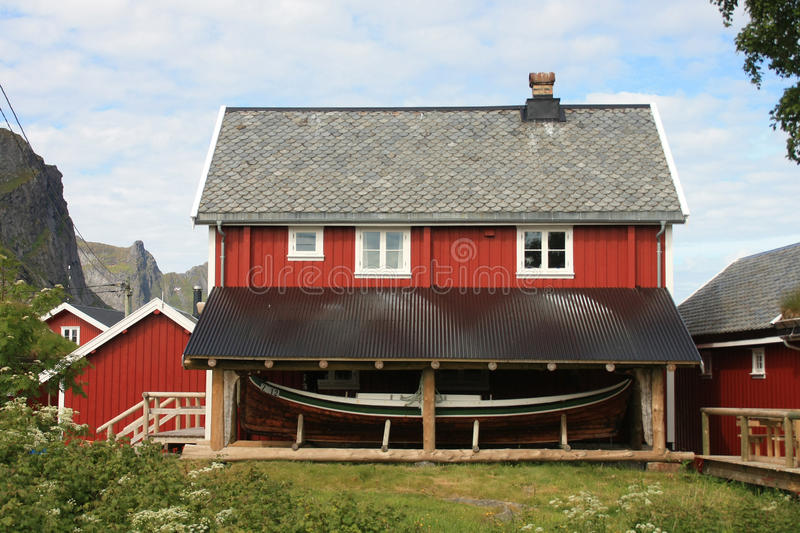 Reine's house with canopy and boat royalty free stock photos