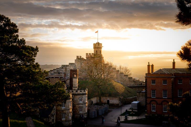 Reine Spekulation berühmten Lincoln Castles, Lincolnshire, genommen bei Sonnenuntergang vor Sylvesterabenden von 2018 lizenzfreies stockbild