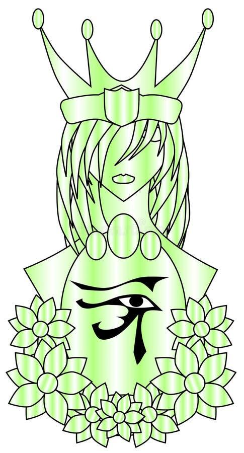 Reine stylisée avec l'oeil du rha illustration de vecteur