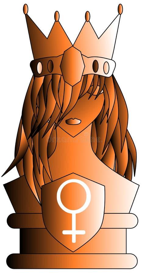 Reine stylisée avec le symbole de femme illustration de vecteur