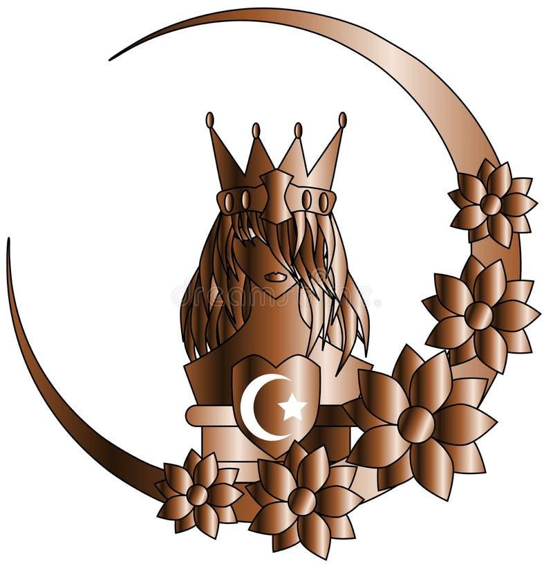 Reine stylisée avec le symbole de l'Islam et fleurs d'isolement illustration de vecteur