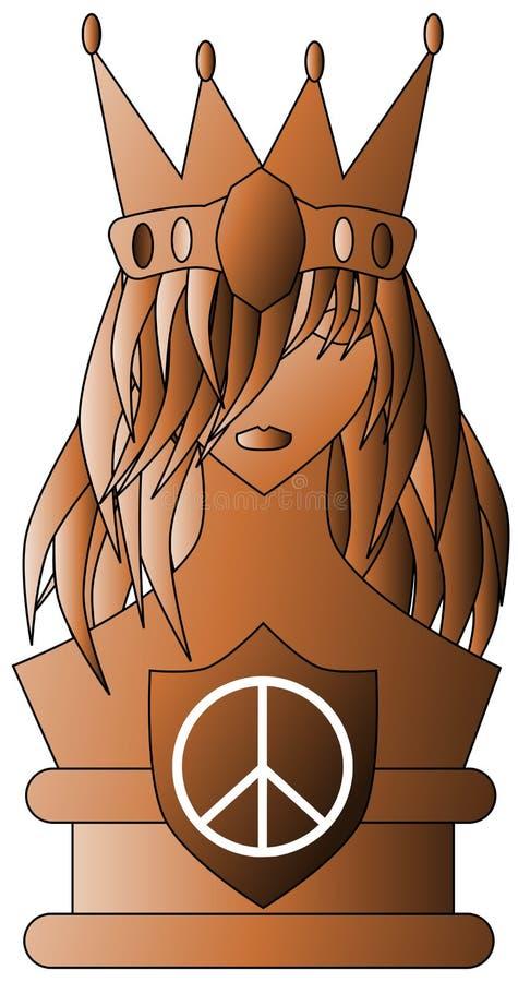 Reine stylisée avec le symbole de paix d'isolement illustration stock