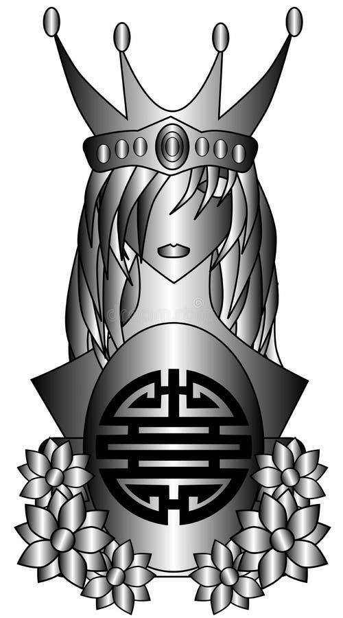 Reine stylisée avec le symbole du double bonheur illustration stock