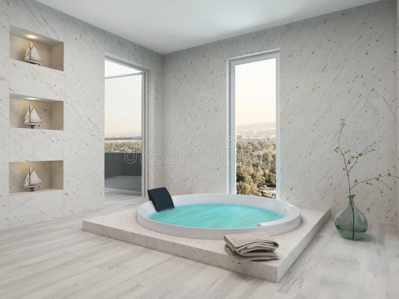 Reiner sauberer weißer Badezimmerinnenraum mit Badewanne vektor abbildung