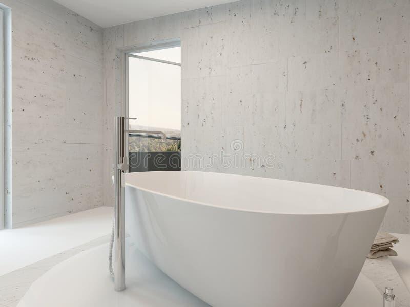 Reiner sauberer weißer Badezimmerinnenraum mit Badewanne stock abbildung