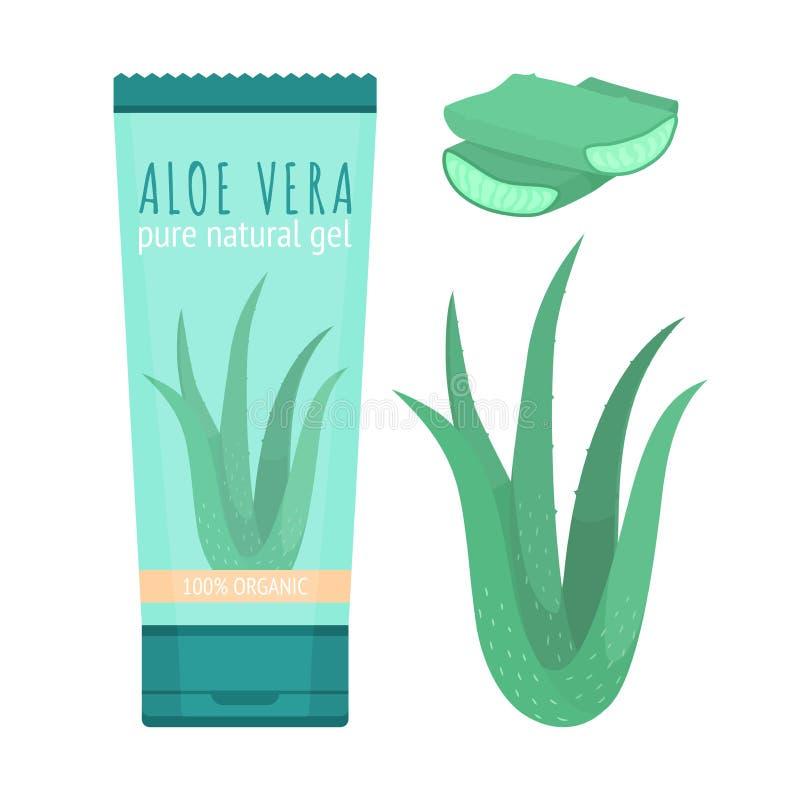 Reines natürliches Gel, Scheiben und Anlage Aloe-Veras lizenzfreie abbildung