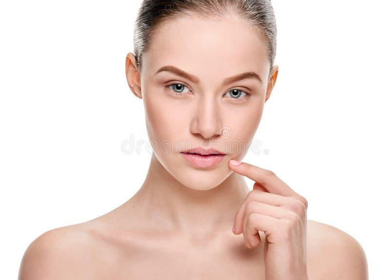 Reines Schönheitsfraugesicht lizenzfreies stockbild