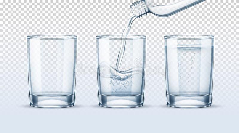 Reines Wasser des Vektors, das in realistische Glasschale gießt stock abbildung