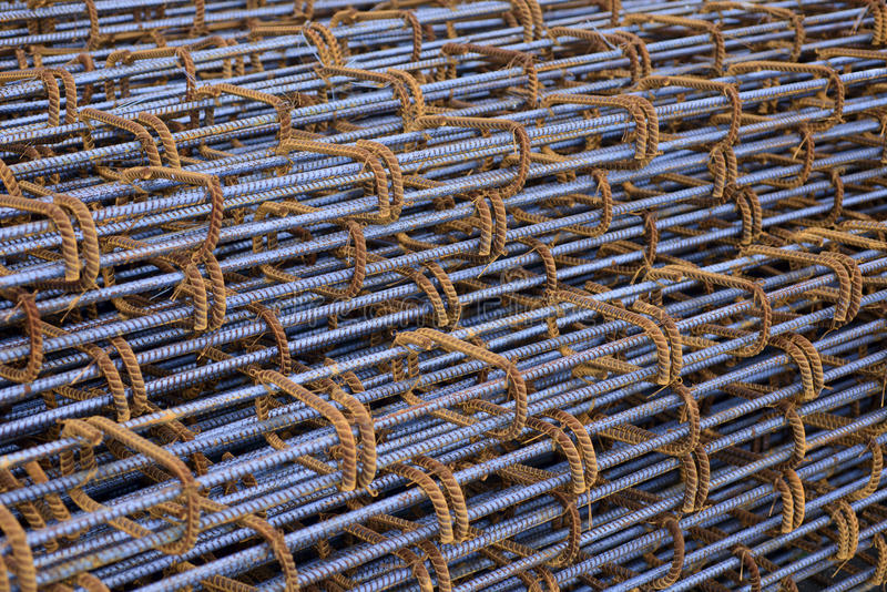 Reinforce steel iron rod. Steel rods used to reinforcement concrete royalty free stock image