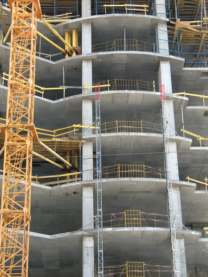 Reinforced concrete construction. Building site royalty free stock photo