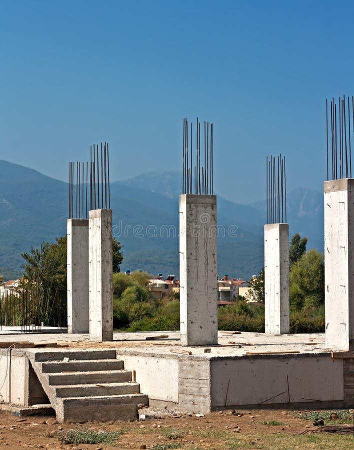 Reinforced Concrete Buildings : Reinforced concrete pillars on building site stock image
