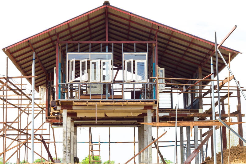 Wood And Steel Structure : Reinforced steel structure houses stock photo image of