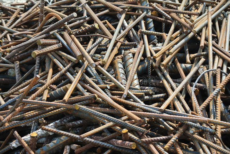 Reinforcement bar waste collected before sent to the factory for recycling stock photo