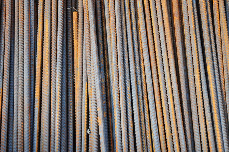 Reinforcement bars textured background. Metal reinforcements. Reinforcement bars textured background. Metal rusty reinforcements royalty free stock photography