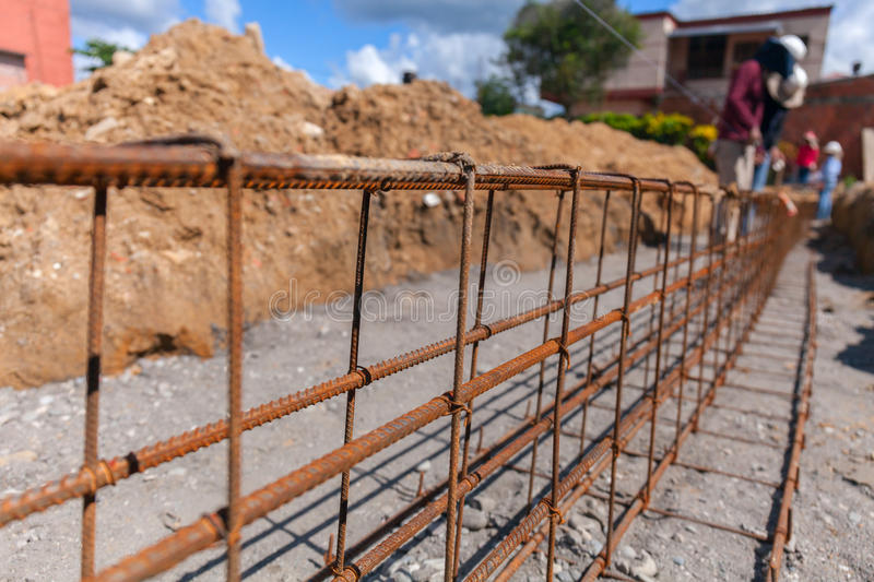 Reinforcement of concrete work. Using steel wire for securing bars with rod or cement. focus to stock photo stock photo