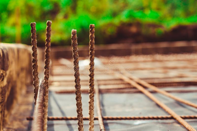 the rebar in the Foundation stock images